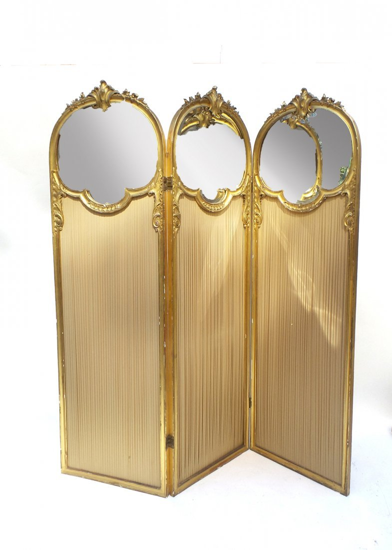 Belle Époque Gilt Wood 3-Fold Screen