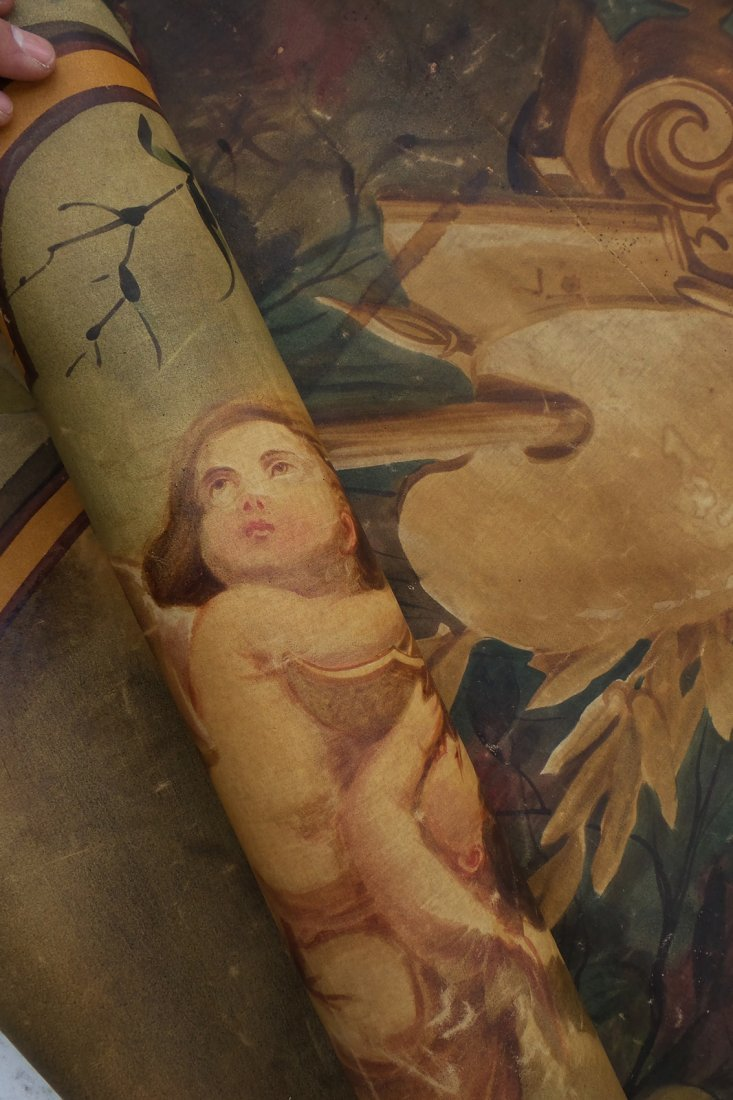 Painted Canvas Wallpaper with Putti