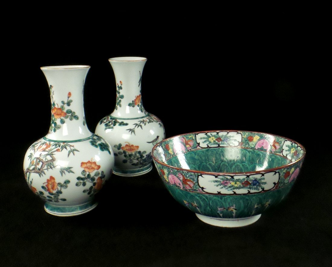 Pair of Famille Verte Vases, Footed Bowl