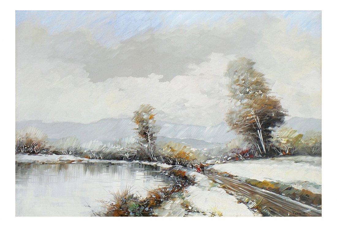 Petrin, Winter Landscape - Oil on Canvas