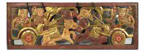 Southeast Asian Painted BasRelief
