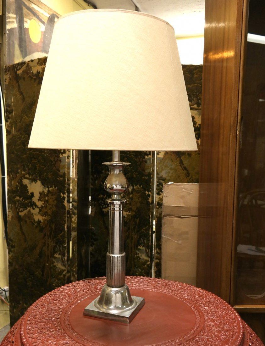 Chromed Metal Art Deco Lamp: