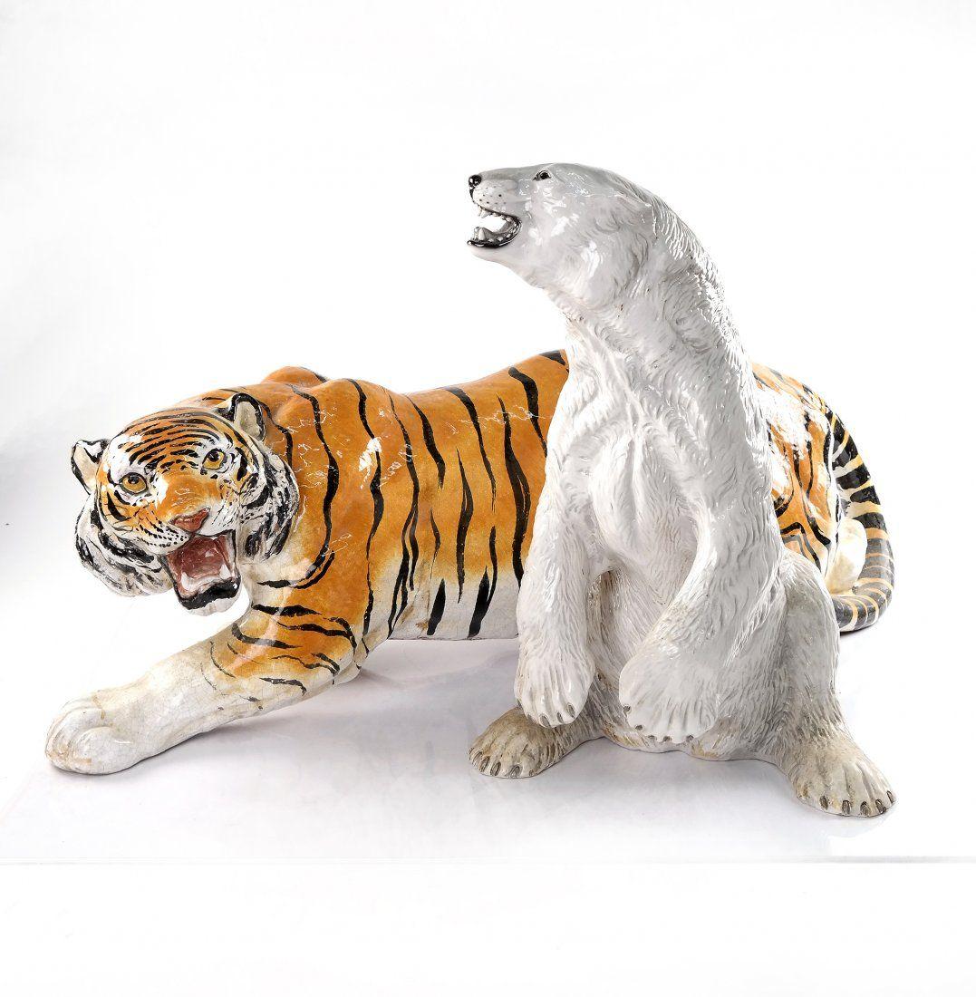 Italian Ceramic Bear and Tiger