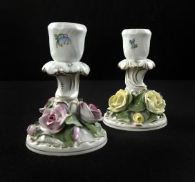 Pair Of Herend Porcelain Candlesticks
