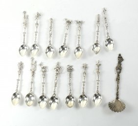 Set Of 14 .800 Silver Demitasse Spoons