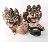 4 Carved Wood and Painted Masks