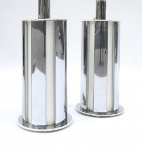 Pair Of Metal And Chrome Lamps