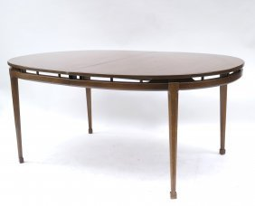 Modern Walnut Oval Dining Table