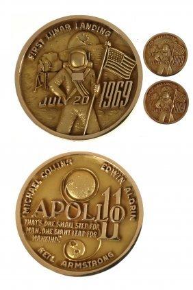 Three U.S. 1969 Apollo XI Gold Medals