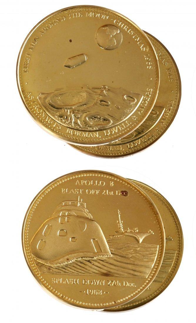 Two U.S. 1968 Apollo VIII Gold Medals