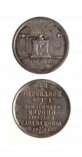 Brazil 1864 Dom Pedro Ii Silver Medal