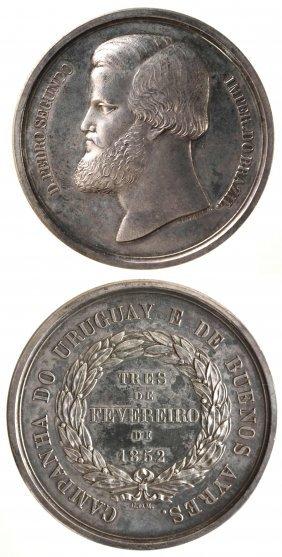 Brazil 1852 Dom Pedro Ii Silver Medal