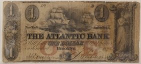 The Atlantic Bank 1848 $1 Obsolete Note