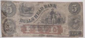The Bulls Head Bank1862 $5 Obsolete Note