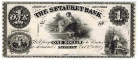 The Setauket Bank 1860 $1 Obsolete Note