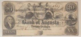 Bank Of Augusta C.1850 $20 Obsolete Note