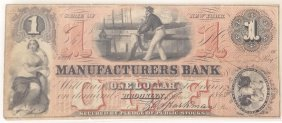 Manufacturers Bank 1865 $1 Obsolete Note