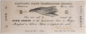 Md Colonization Society 5¢ Scrip Note