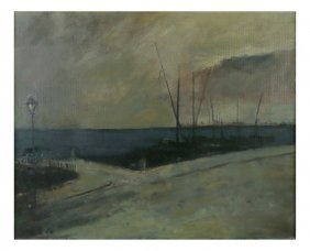 H.b., Oil On Canvas - Pier At Dusk
