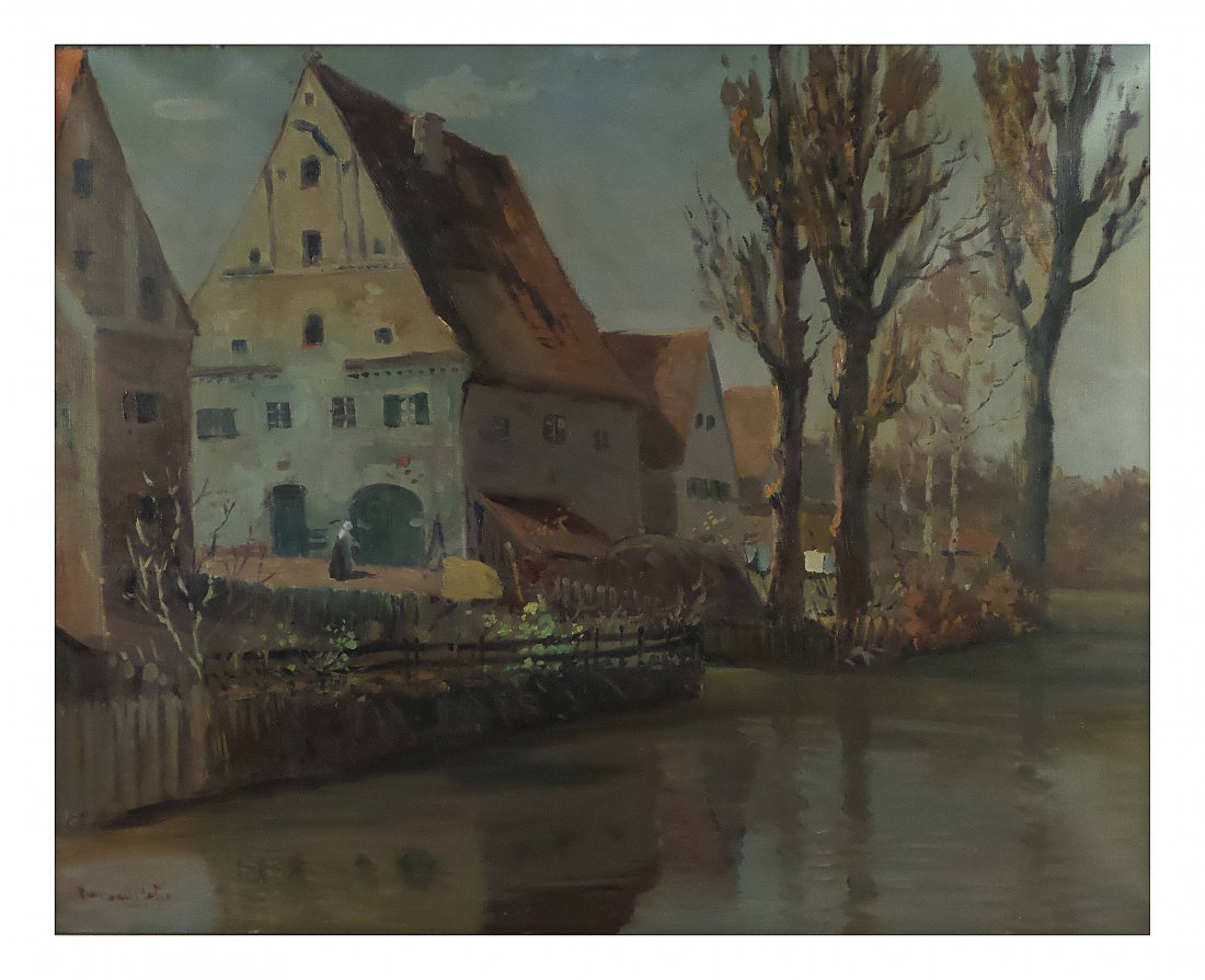 Post-Impressionist Village Scene