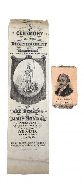 James Monroe - Two Memorial Silk Ribbons