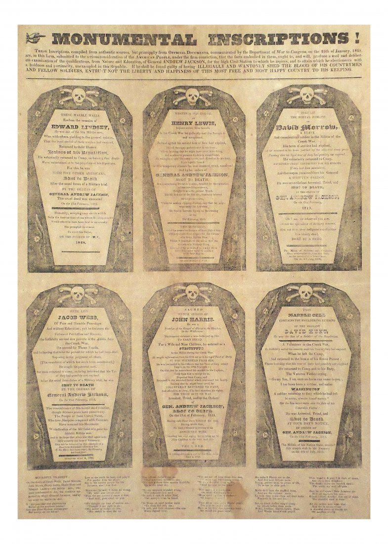 "Andrew Jackson - First ""Coffin"" Handbill"