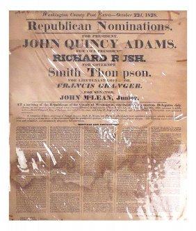 John Quincy Adams  - Campaign Broadside