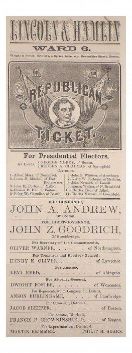 Lincoln & H. Hamlin Election Ballot