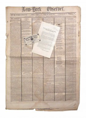 Lincoln - 1865 New York Observer Newspaper & Others