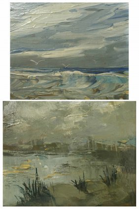 Pair Of Seascapes, Oil On Canvas Board