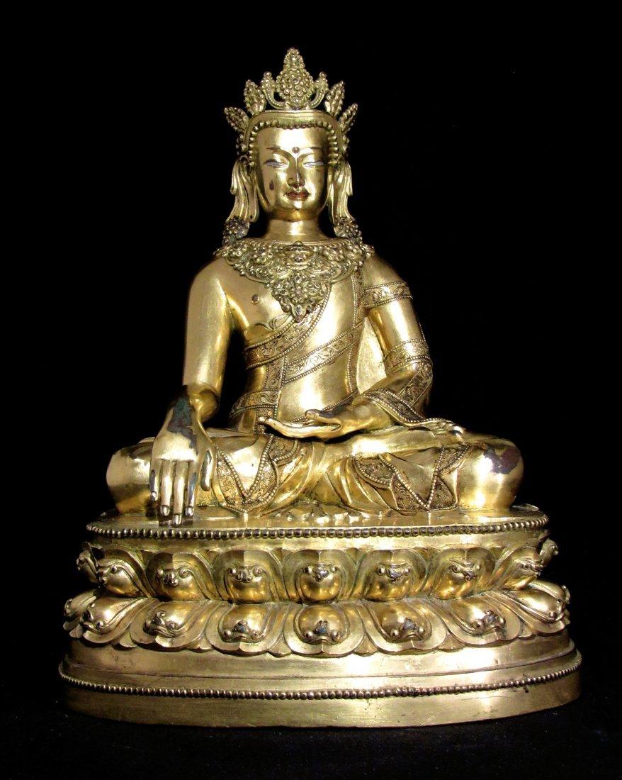 Chinese/Tibetan Gilt Buddha Statue