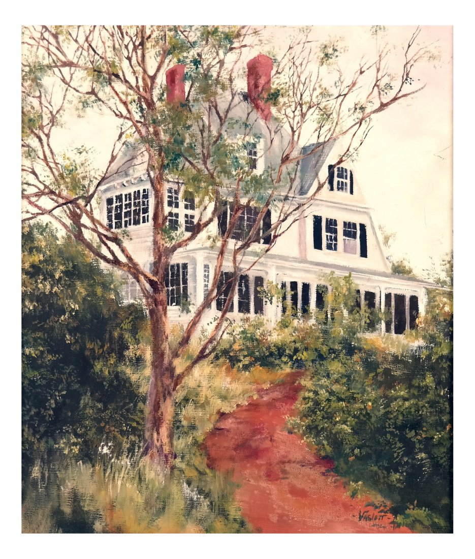 Oil on Canvas, House & Garden Landscape