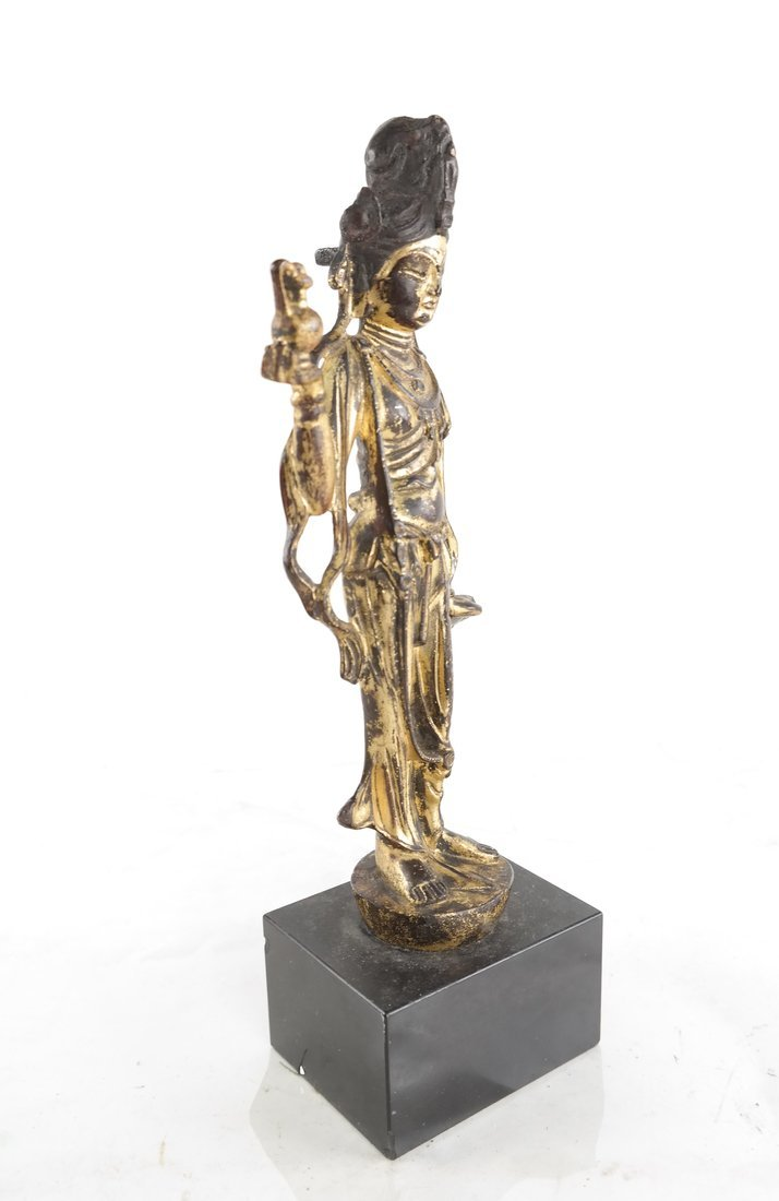Gilt Bronze Standing Buddha Statue - 2