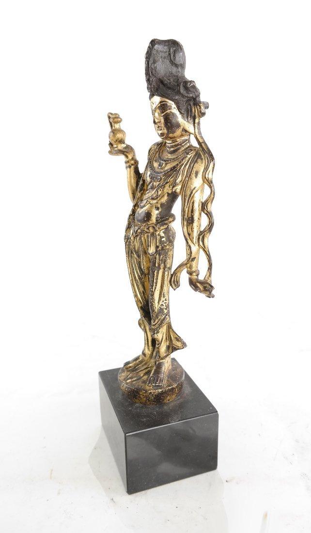 Gilt Bronze Standing Buddha Statue - 4