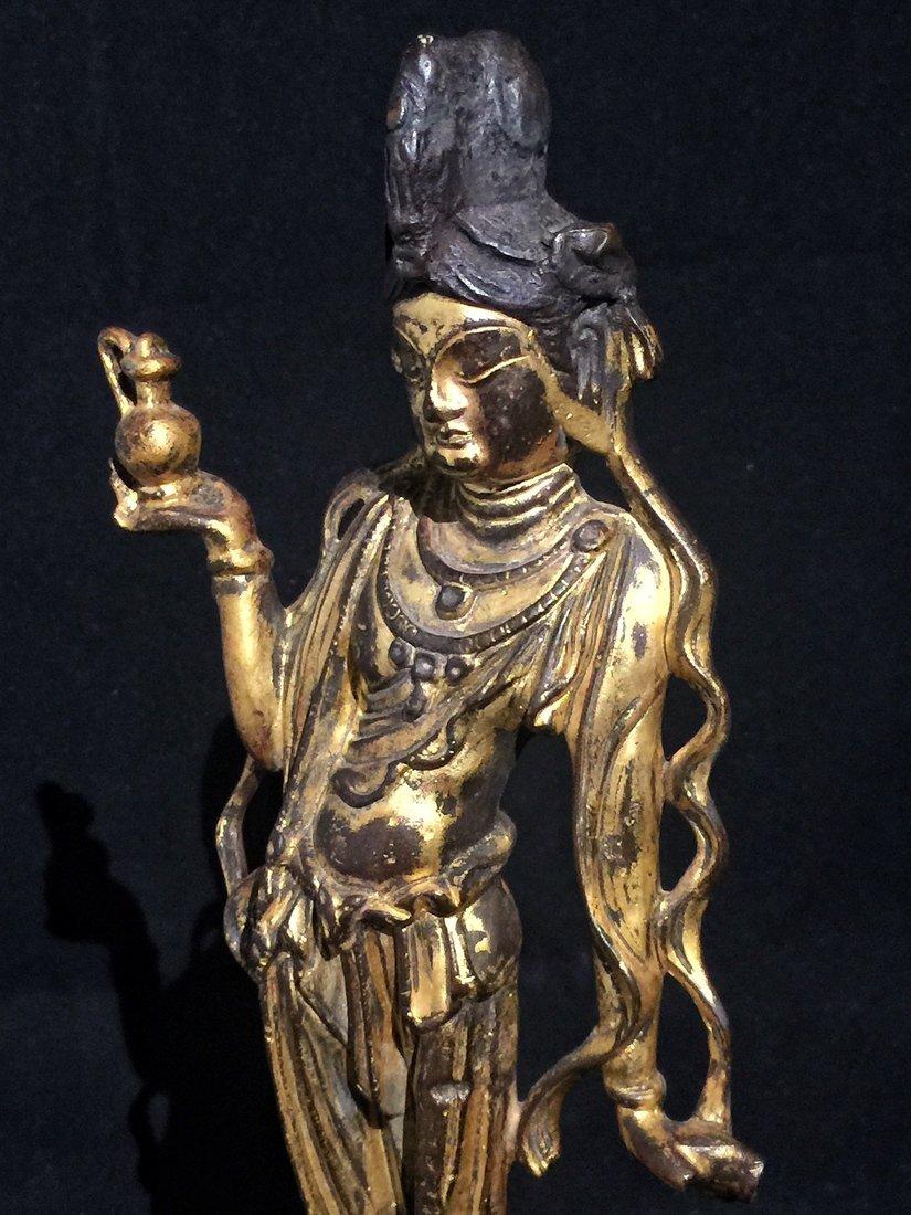 Gilt Bronze Standing Buddha Statue - 5