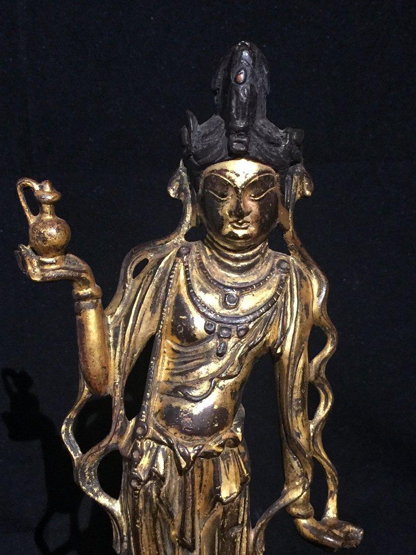 Gilt Bronze Standing Buddha Statue - 6