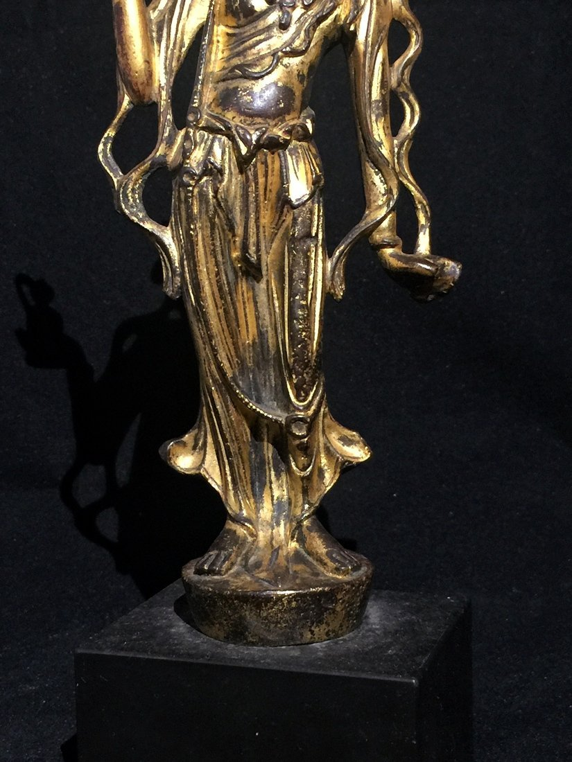 Gilt Bronze Standing Buddha Statue - 8