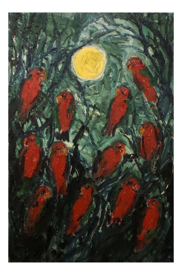 "Hunt Slonem - ""Midnight Lorries"", Oil on Canvas"