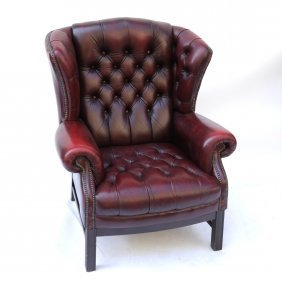 Leather Tufted Wing Chair