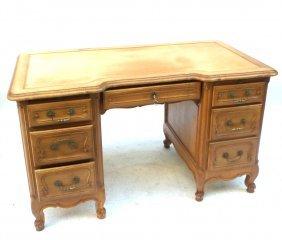 Provincial Leather Top Kneehole Desk