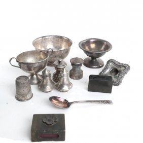 Ten Misc. Silver And Silver Plate Items