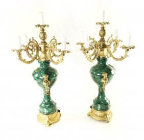 Pair Of Bronze And Malachite Candelabra