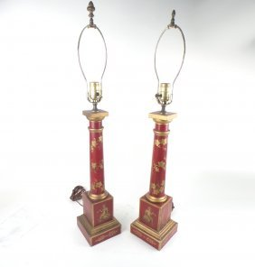 Pair Of Tole Painted Neoclassical Lamps
