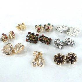 Nine Pairs Of Ladies' Costume Earrings