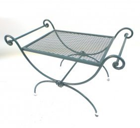 Green Painted Iron Bench