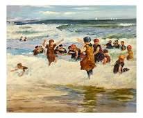 Gustave, Beach Scene - Oil on Canvas