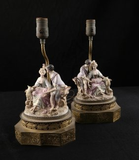 Pair Of Bisque Figural Lamps