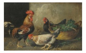 S.e. Waller, Roosters - Oil On Board