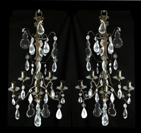 Pair Of French Crystal & Bronze Sconces