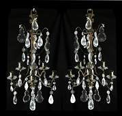 Pair of French Crystal  Bronze Sconces